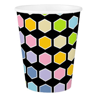 White Outlined Pastel Rainbow Hexagons Paper Cup