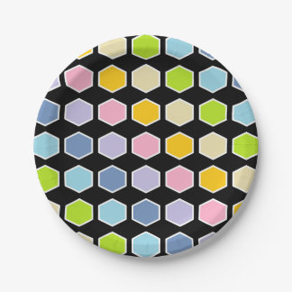 White Outlined Pastel Rainbow Hexagons Paper Plate
