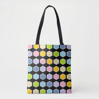 White Outlined Pastel Rainbow Hexagons Tote Bag