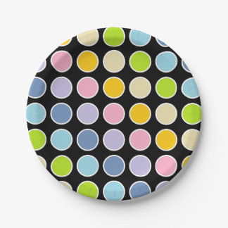 White Outlined Pastel Rainbow Polka Dots Paper Plate