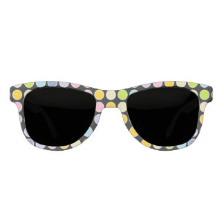 White Outlined Pastel Rainbow Polka Dots Sunglasses