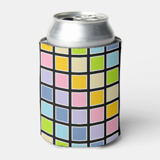 White Outlined Pastel Rainbow Squares Can Cooler