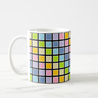 White Outlined Pastel Rainbow Squares Coffee Mug