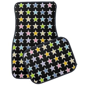 White Outlined Pastel Rainbow Stars Car Mat