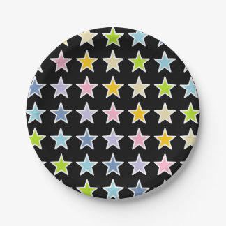 White Outlined Pastel Rainbow Stars Paper Plate