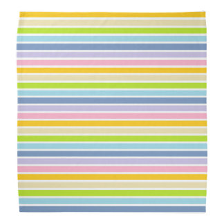 White Outlined Pastel Rainbow Stripes Bandana
