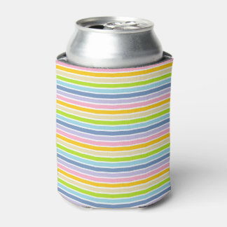 White Outlined Pastel Rainbow Stripes Can Cooler