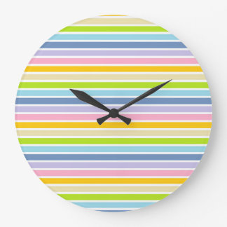 White Outlined Pastel Rainbow Stripes Large Clock