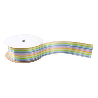 White Outlined Pastel Rainbow Stripes Satin Ribbon