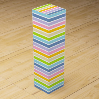 White Outlined Pastel Rainbow Stripes Wine Gift Box