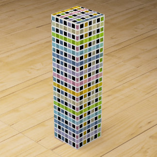 White Outlined Pastel Rainbow Weave Wine Box