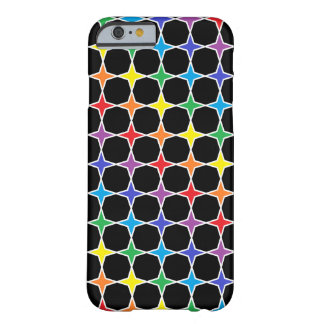 White Outlined Rainbow 4 Point Stars Barely There iPhone 6 Case