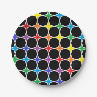 White Outlined Rainbow 4 Point Stars Paper Plate