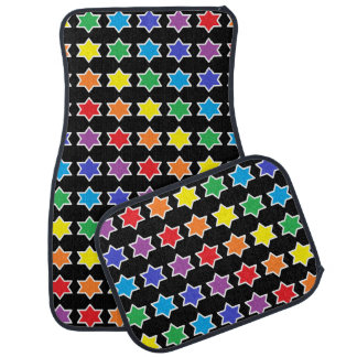 White Outlined Rainbow 6 Point Stars Car Mat