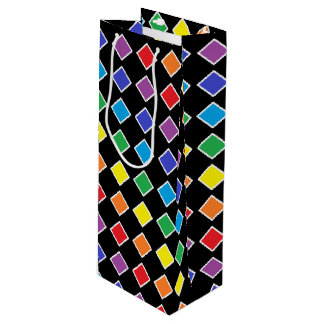 White Outlined Rainbow Diamonds Wine Gift Bag