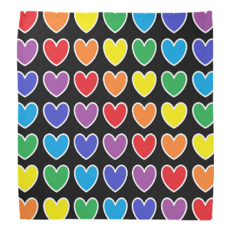 White Outlined Rainbow Hearts Bandana