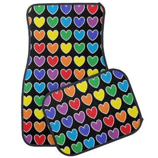 White Outlined Rainbow Hearts Car Mat