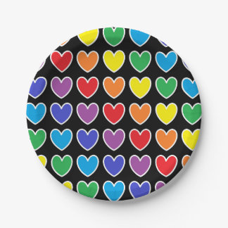 White Outlined Rainbow Hearts Paper Plate