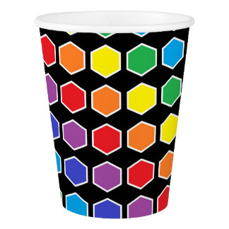 White Outlined Rainbow Hexagons Paper Cup