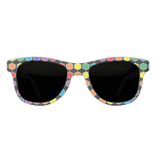 White Outlined Rainbow Hexagons Sunglasses