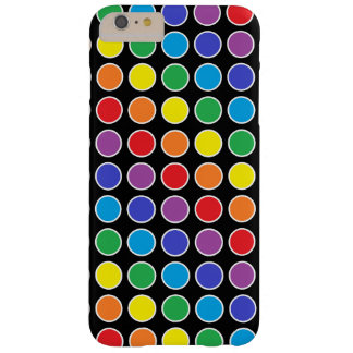 White Outlined Rainbow Polka Dots Barely There iPhone 6 Plus Case