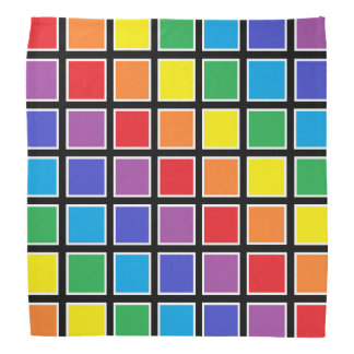White Outlined Rainbow Squares Bandana