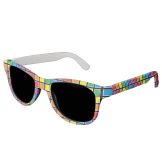 White Outlined Rainbow Squares Sunglasses
