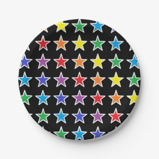 White Outlined Rainbow Stars Paper Plate