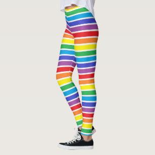 White Outlined Rainbow Stripes Leggings