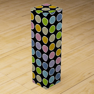 White Outlined Static Pastel Rainbow Polka Dots Wine Box