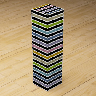 White Outlined Static Pastel Rainbow Stripes Wine Gift Box