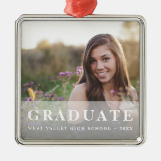 White Overlay | Graduation Photo Metal Ornament