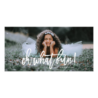 White Overlay Lettering Oh What Fun Photo Card