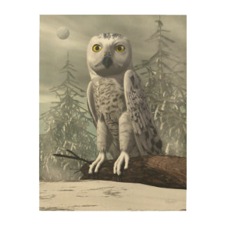 White owl - 3D render Wood Wall Art