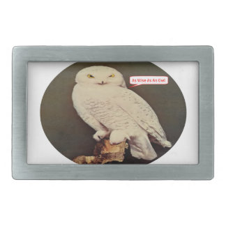 white owl drawing rectangular belt buckle