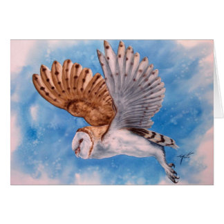 WHITE OWL IN FLIGHT CARD