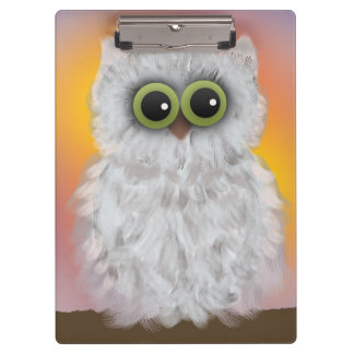 White Owl Painting Clipboard