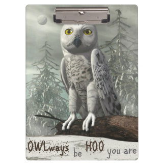 White owl quote - 3D render Clipboard