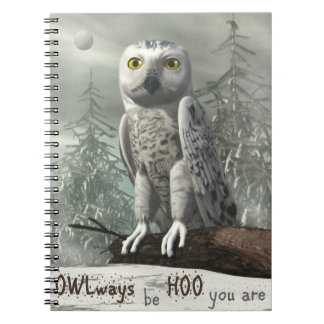White owl quote - 3D render Spiral Notebook