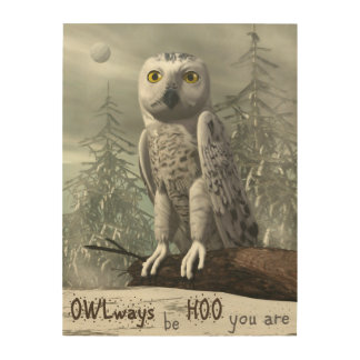 White owl quote - 3D render Wood Print