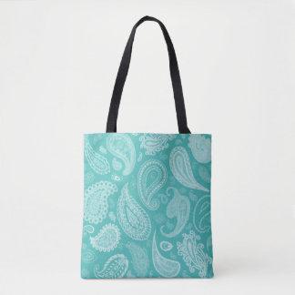 White Paisley Designer Tote Bag by Julie Everhart
