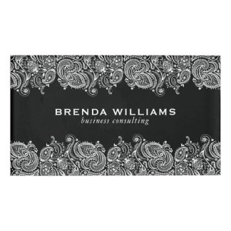 White paisley Lace On Black Background Name Tag