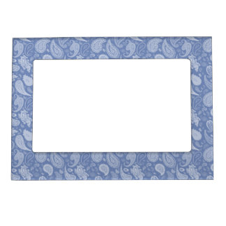 White Paisley Magnetic Photo Frame-You pick color! Magnetic Picture Frame
