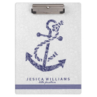White Paisley & Navy Blue Nautical Boat Anchor Clipboard