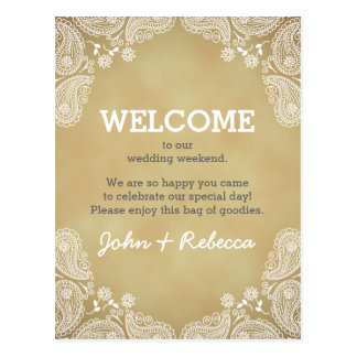White Paisley Rustic Background Wedding Welcome Postcard
