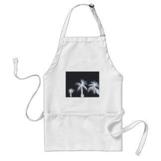White Palm Trees on Black Background Standard Apron
