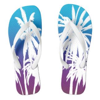 White Palm Trees Purple Blue Fade Tahiti Retro Thongs