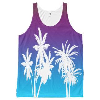 White Palm Trees Purple Blue Haze Sunset Retro All-Over Print Singlet