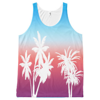 White Palm Trees Purple Haze Sunset Blue Sky All-Over Print Singlet
