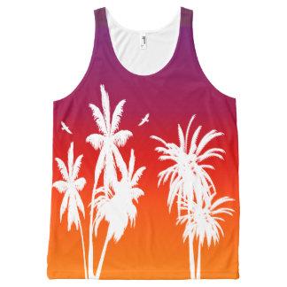 White Palm Trees Purple Tahitian Tropical Retro All-Over Print Singlet
